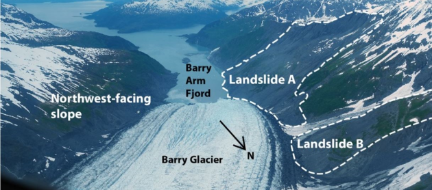 Satellite imagery shows renewed movement of Barry Arm Landslide