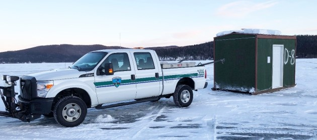 Ice fishing huts available for rent at Birch Lake and Quartz Lake