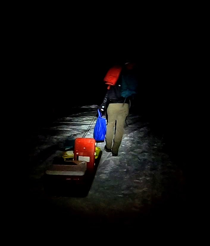The trek at night to the cabin