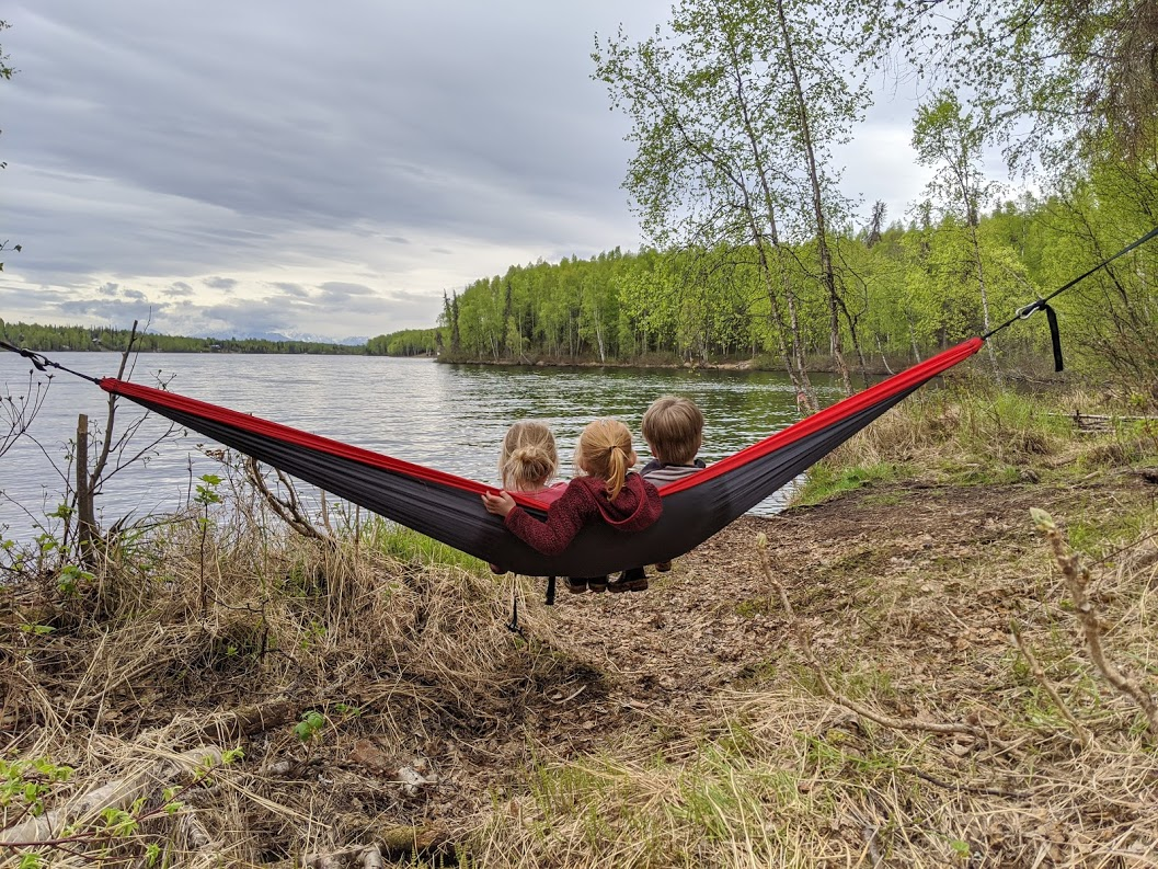 kids in a hammock at Nancy Lake