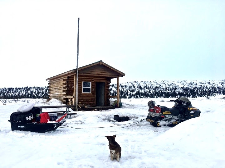 Fielding Lake Cabin with sled and doggo