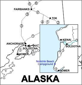 Ninilchik Beach Campground Location Map