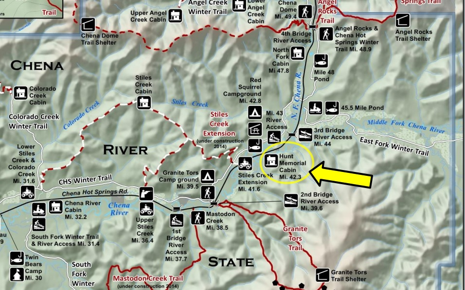 Location map of Hunt Memorial Cabin