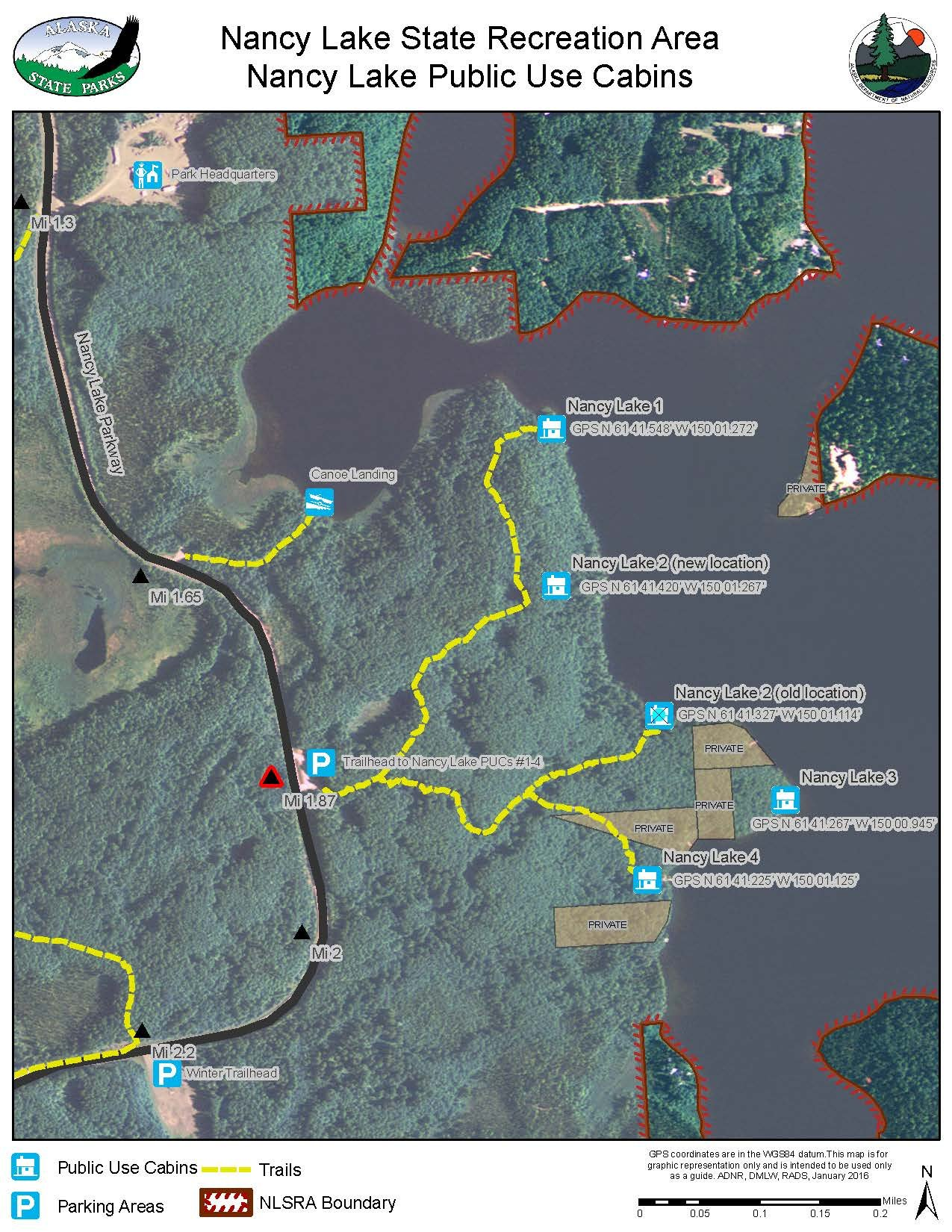 Nancy Lake State Recreation Area Public Use Cabin Map