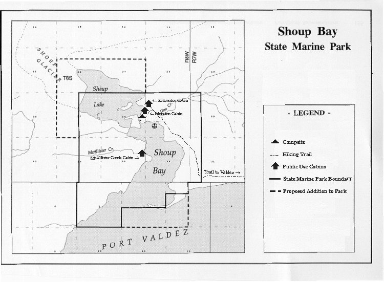 Shoup Bay State Marine Park Map