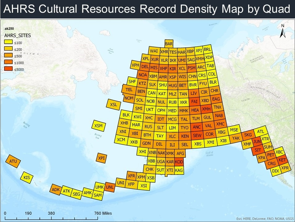 AHRS Cultural Resources Record Density Map by Quadrant