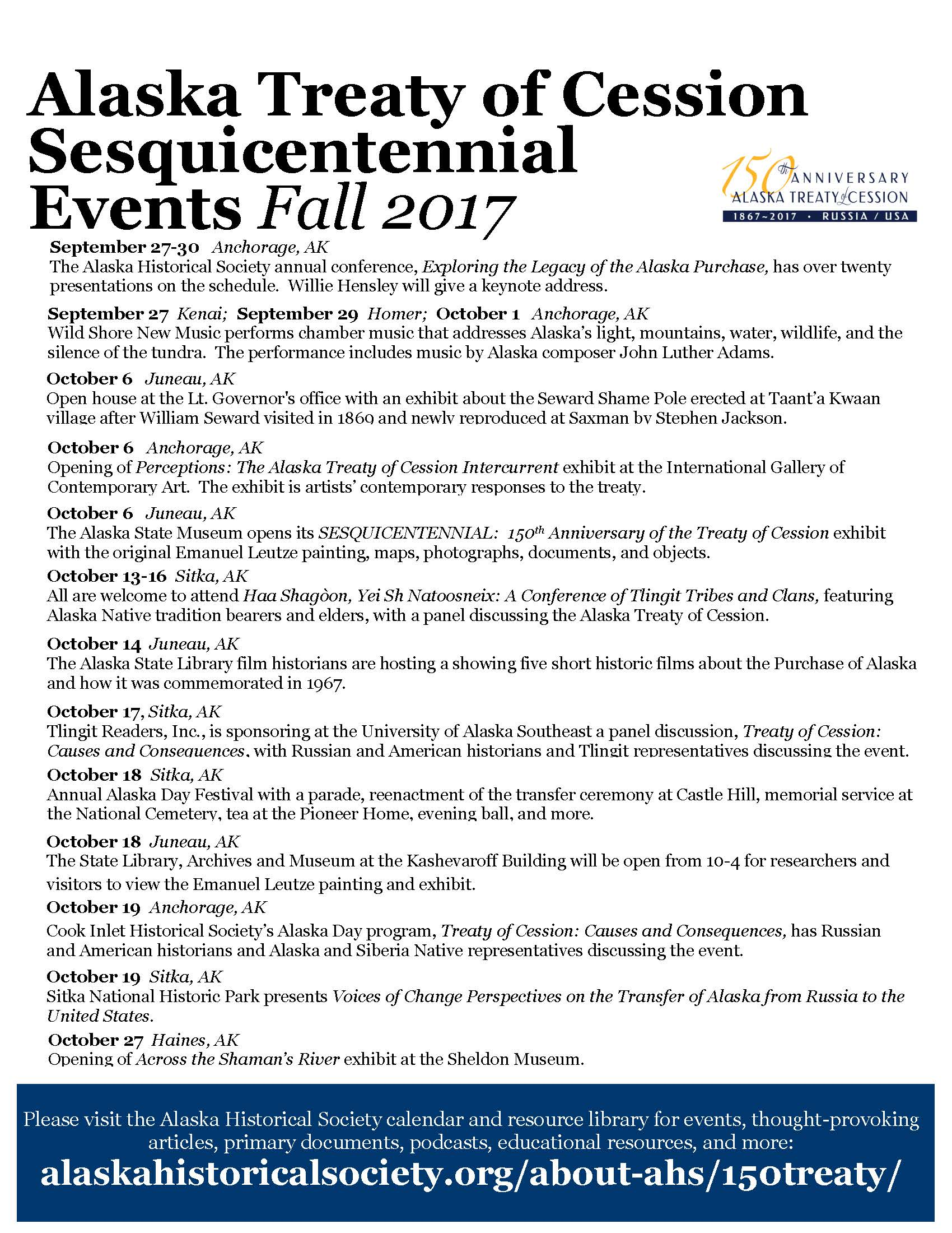 Sesquicentennial events fall 2017