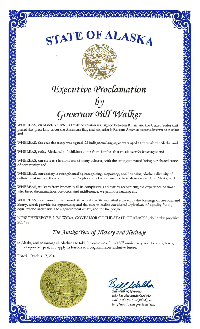 The Alaska Year of History and Heritage proclamation