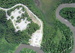 Overhead view of Little Su River and developed Public Use Site