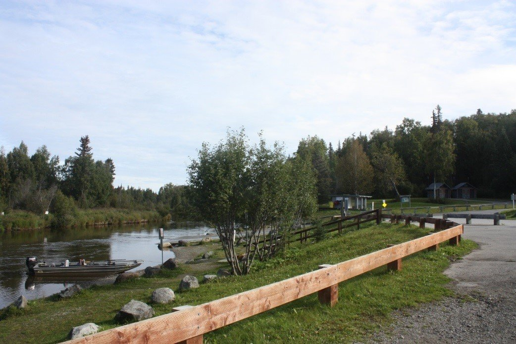 Little Susitna River Public Use Facility boat launch and mooring area on a sunny summer day