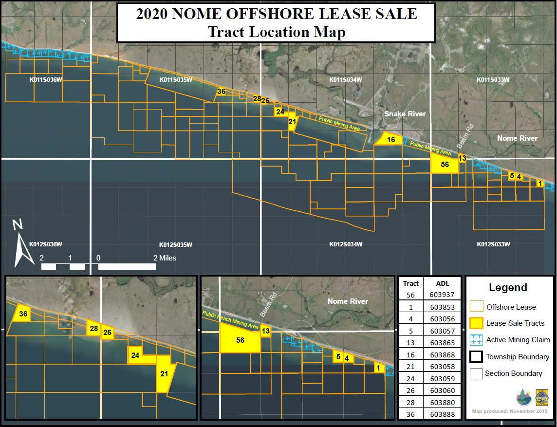 Una imagen de un mapa de zonas mineras en alta mar de Nome